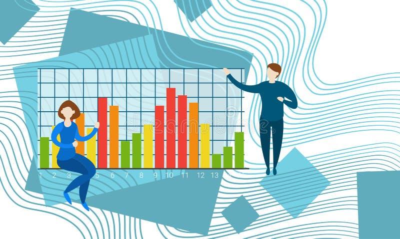 Persone di affari che contano il grafico finanziario di analisi di Finance Business Data del ragioniere illustrazione di stock