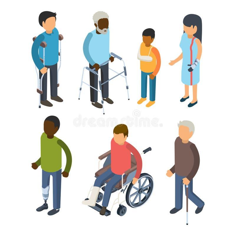 Persone di inabilità isometriche Gente sorda di vettore 3d degli adulti di cura del maggiore difettoso delle persone dei invalids royalty illustrazione gratis