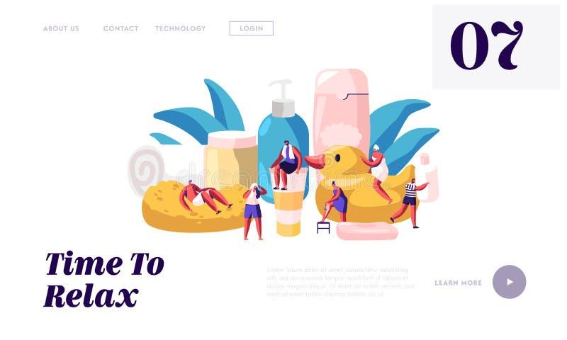 Persone legate al sito Web Bathroom Personaggi di donne e uomini che lavano e fanno il bagno tra le enormi bottiglie di cosmetici illustrazione vettoriale