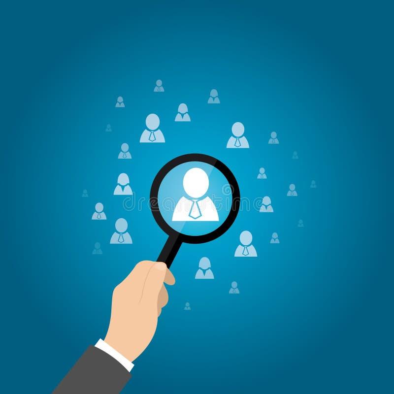 Personeel, CRM, voor het exploiteren van gegevens, ambtenaar die werknemer zoeken die door pictogram wordt vertegenwoordigd Vecto royalty-vrije illustratie