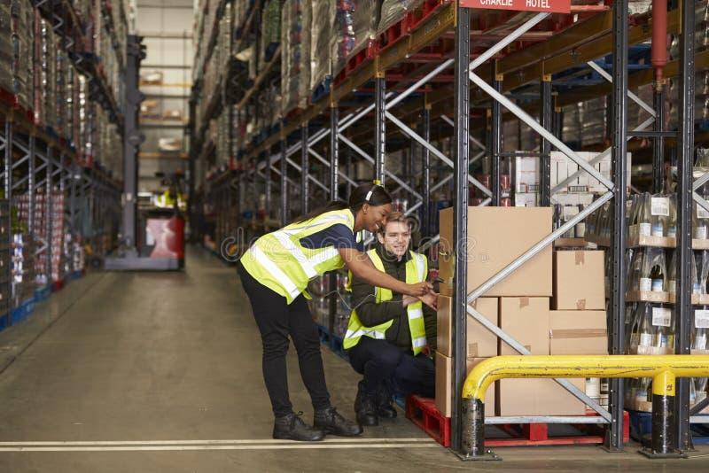 Personeel die dozen in een distributiepakhuis identificeren stock afbeelding