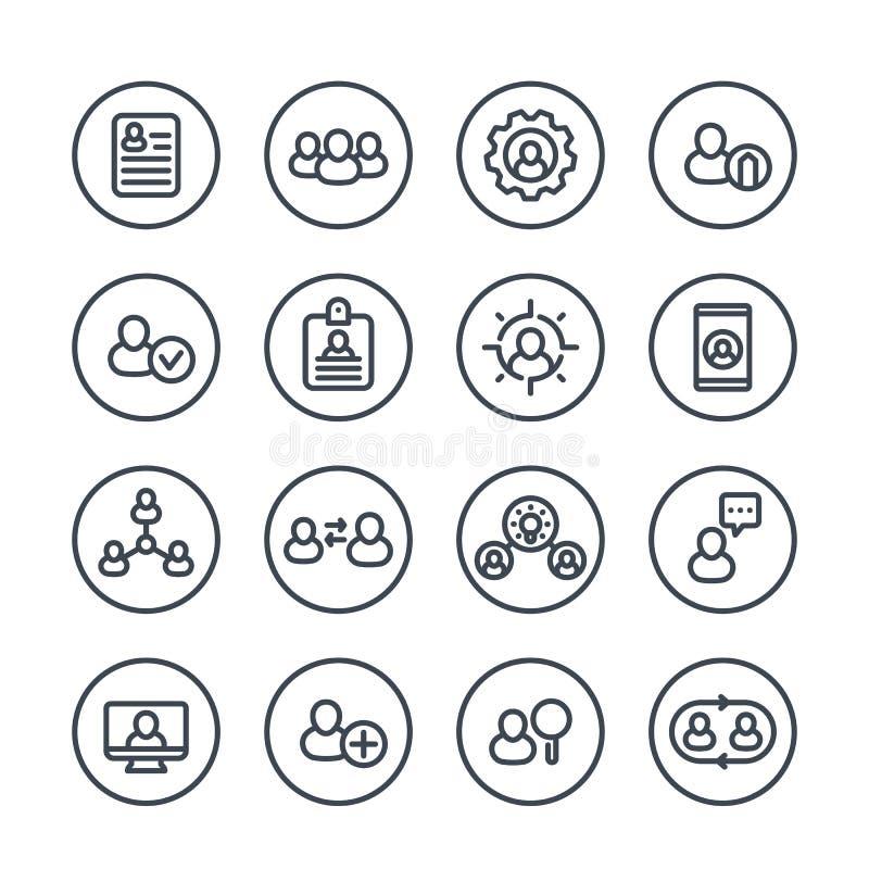 Personeel en de pictogrammen van de beheerslijn vector illustratie