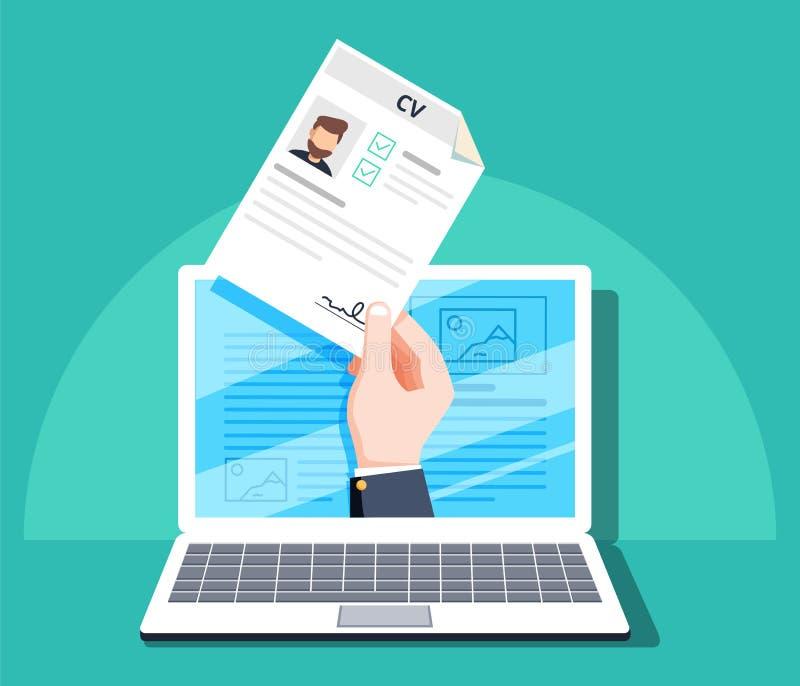 Personeel, online sollicitatie, het concept van het baangesprek Het document van de handholding cv U-beheer royalty-vrije illustratie