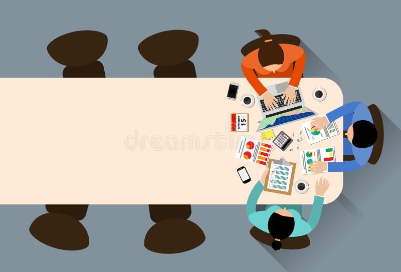 Personeel rond lijst stock illustratie