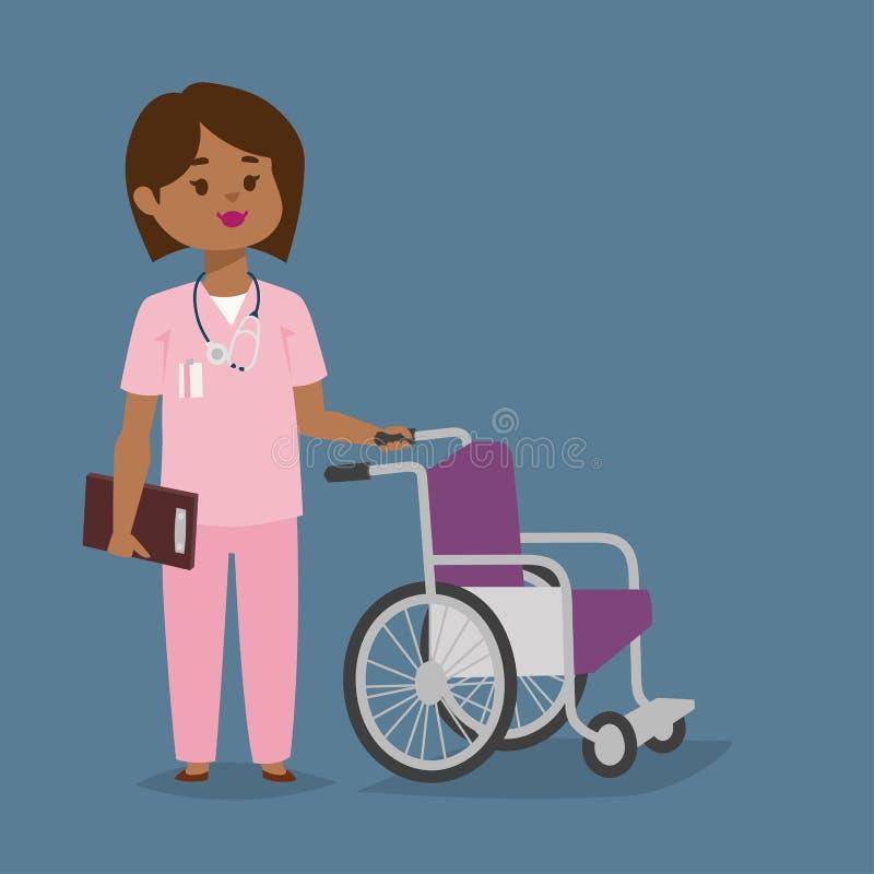 Personeel van de het karakter maakt het vector medische vrouw van de artsenverpleegster met van het het ontwerpziekenhuis van de  stock illustratie