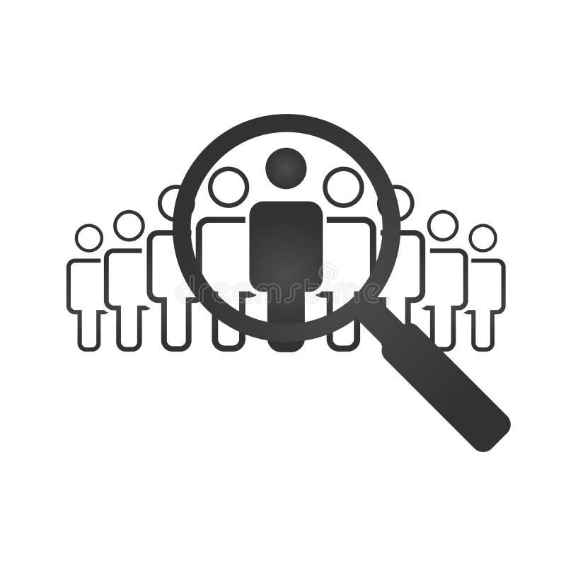 Personeelsconcept, doelmarkt en publiek, nadrukgroep, public relations, vectordieillustratie op witte backgrou wordt geïsoleerd royalty-vrije illustratie