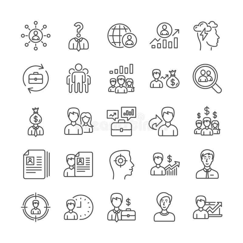 Personeelspictogrammen De hoofd Jacht, Baantekens Vector stock illustratie