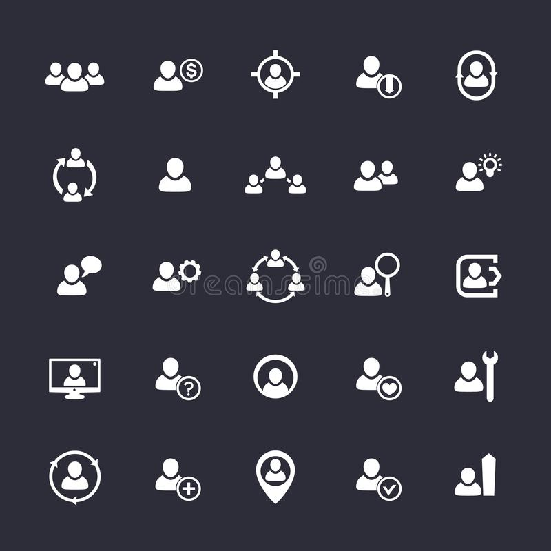 Personeelspictogrammen, u, personeel, klanten vector illustratie