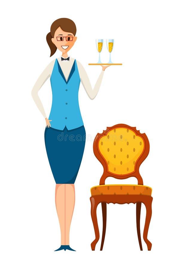 Personeelsreeks De arbeider van het voedselrestaurant, koffie, casino, brengt dranken stock illustratie