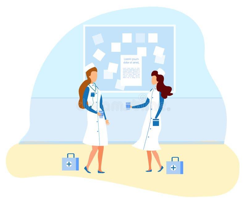 Personel Medyczny kobiety charaktery Ma Kawową przerwę ilustracja wektor