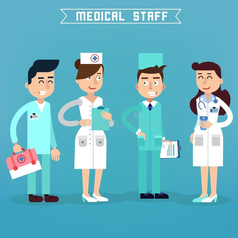 personel medyczny Pielęgniarka i lekarka Szpitalny zaopatrzenie medyczne royalty ilustracja