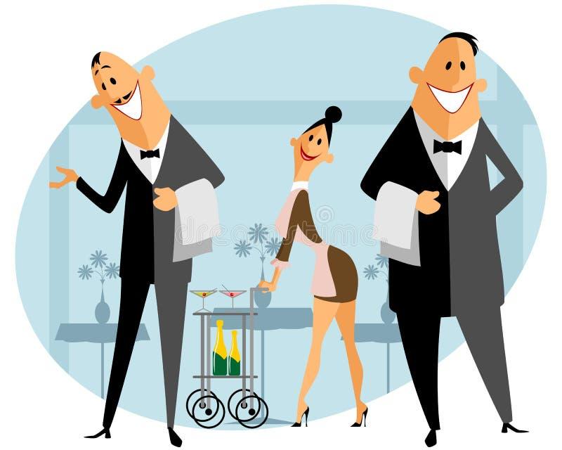 Personel w restauraci royalty ilustracja