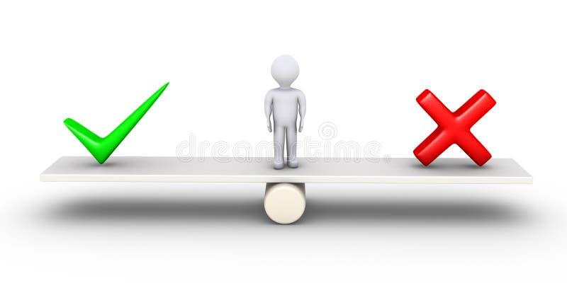 Personen är mellan två val stock illustrationer