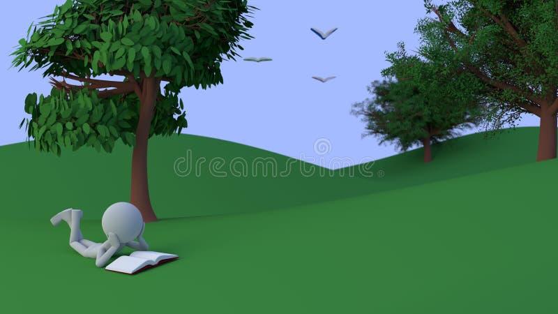 personen 3d läser en bok under en tree i en dal stock illustrationer