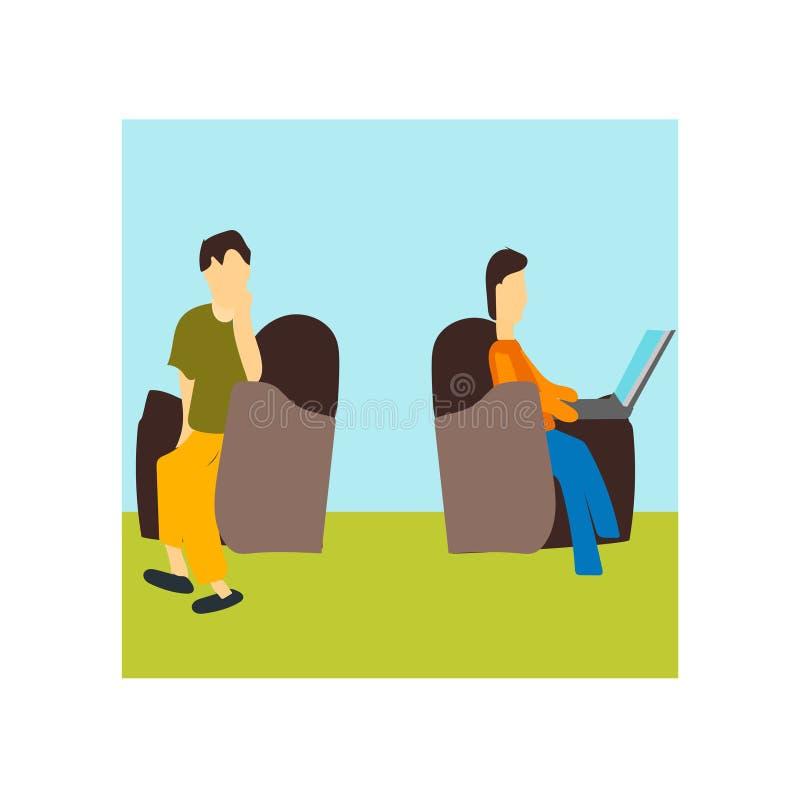 Personen, die das Vektorvektorzeichen und -symbol lokalisiert an weißem Hintergrund, Personen sitzen und Arbeits Vektorlogo sitze vektor abbildung