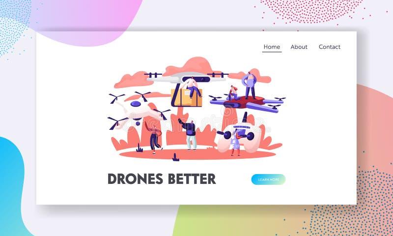 Personen, die Drohnen-Website Landing Page verwenden Quadcopter-Remote-Lufttrommel mit Fotografie- oder Videokamera stock abbildung