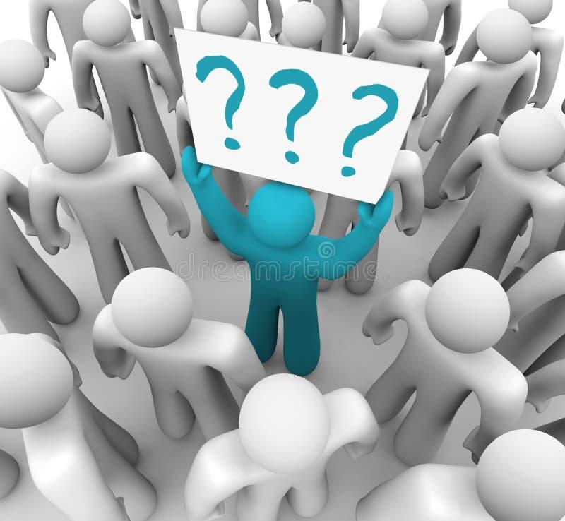 Personen-Holding-Fragezeichen kennzeichnen innen Masse stock abbildung