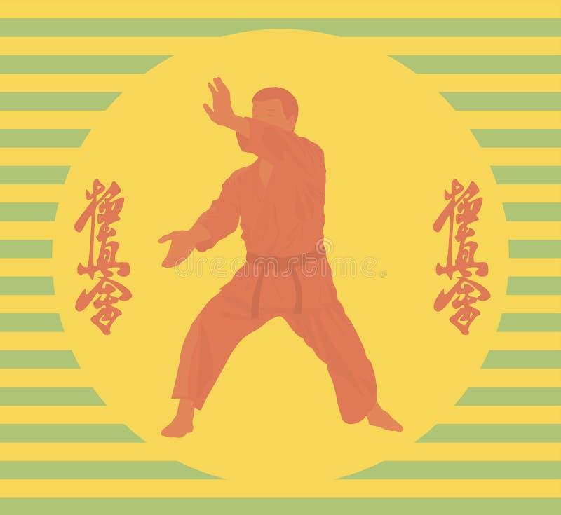 Personen i en kimono är förlovad i karate royaltyfri illustrationer
