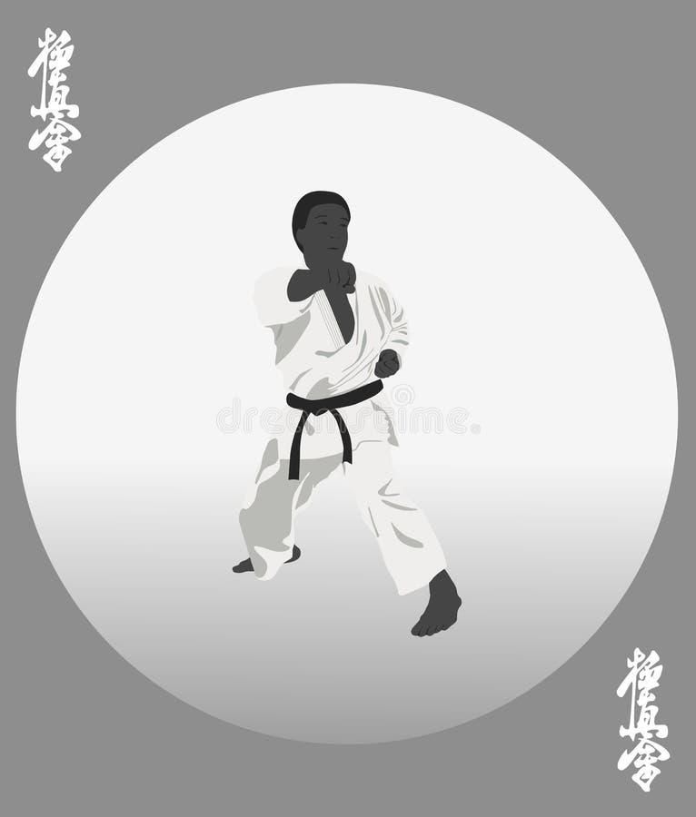 personen i en kimono är förlovad i karate stock illustrationer
