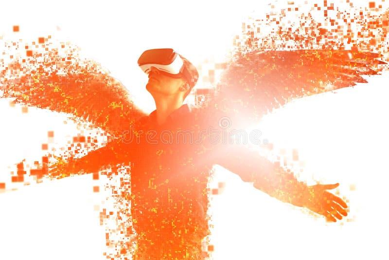 Personen i exponeringsglas av en virtuell verklighet med vingar sprids på PIXEL Begreppet av nya tekniker och royaltyfria bilder