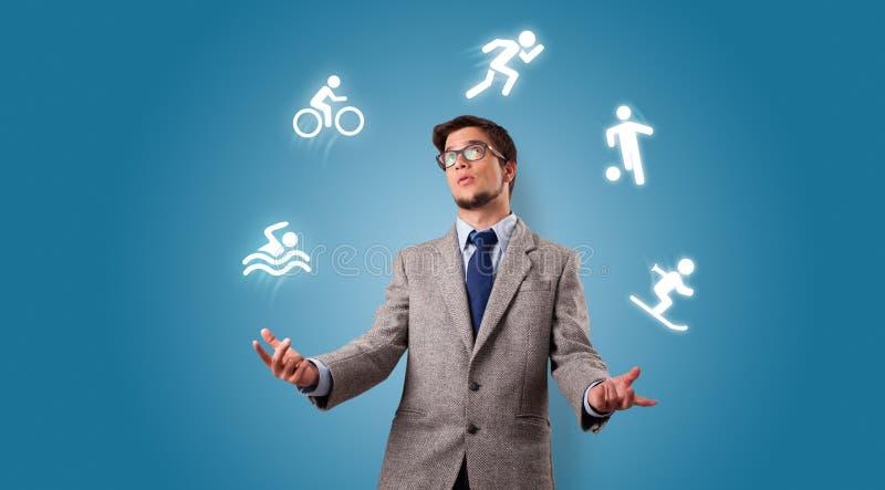 Personen jonglerar med hobbybegrepp royaltyfria foton