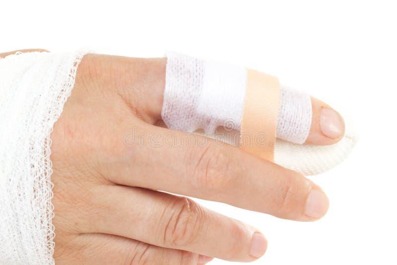 Personen klippte fingret arkivbild