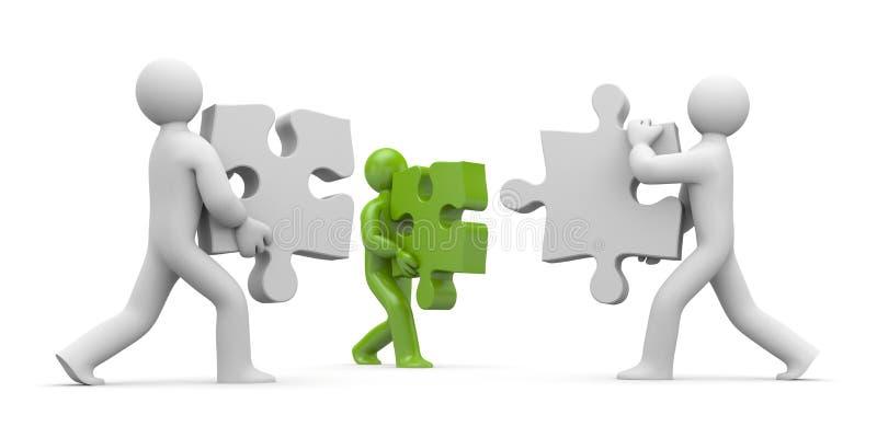 Personen mit Puzzlespielen lizenzfreie abbildung