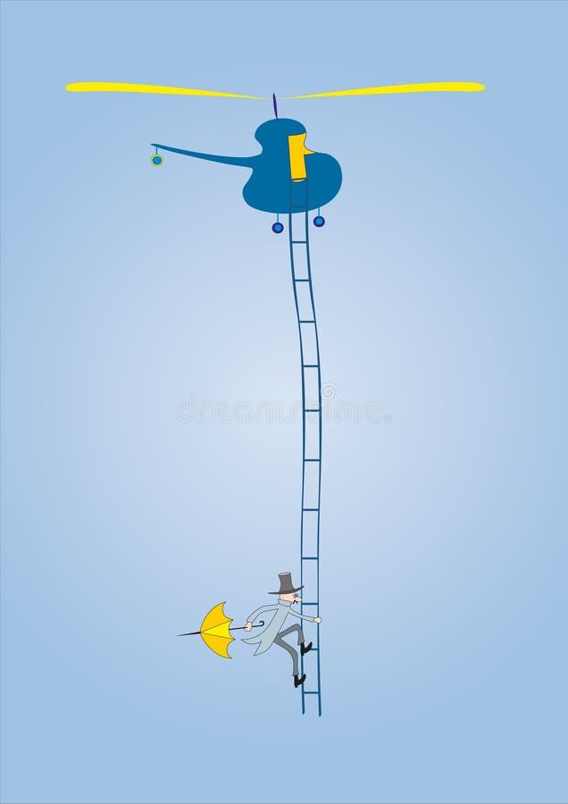 Personen mit Regenschirmanstiegen stock abbildung