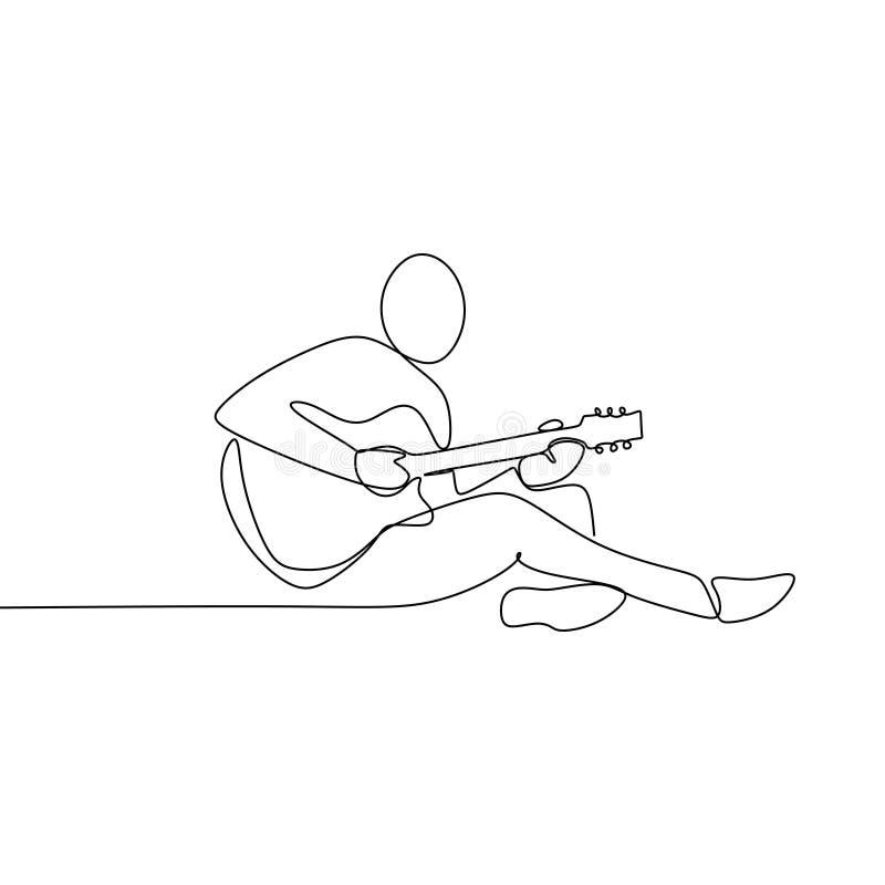 Personen sjunger en sång med den fortlöpande en linjen design för den akustiska gitarren för illustration för konstteckningsvekto stock illustrationer