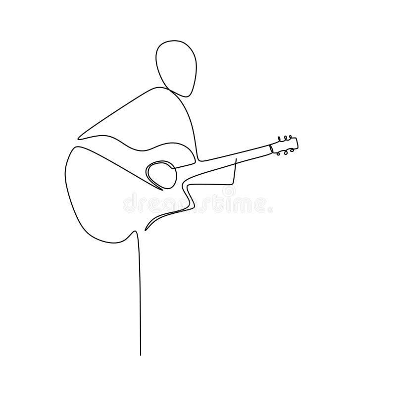 Personen sjunger en sång med den fortlöpande en linjen design för den akustiska klassiska gitarren för illustration för konstteck stock illustrationer