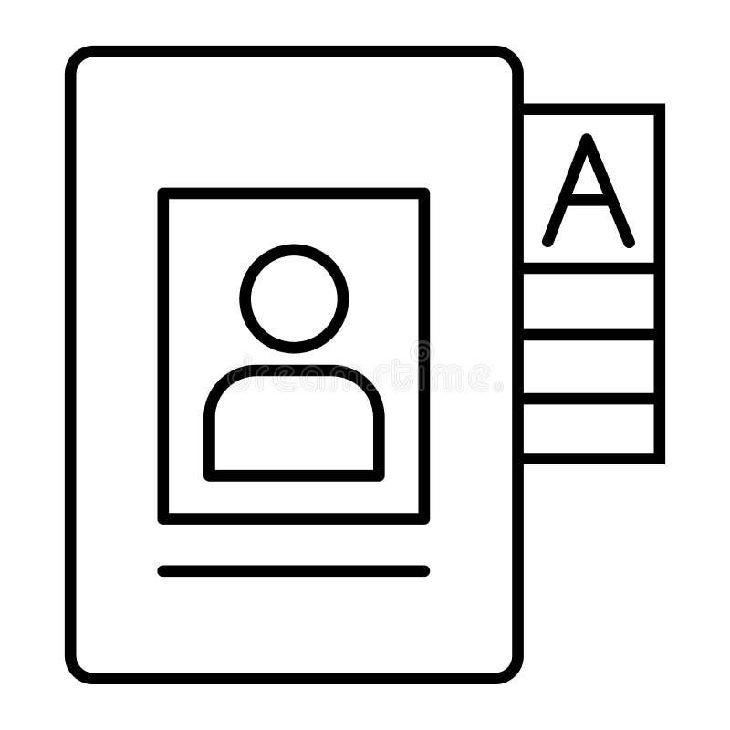 Personendaten archivieren dünne Linie Ikone Dokumentenvektorillustration lokalisiert auf Weiß Ordnerentwurfs-Artentwurf, entworfe lizenzfreie abbildung