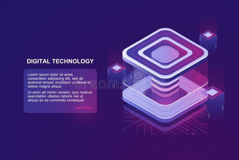 Personendatenschutz, Serverraum, datacenter Konzept, bigdata, das isometrischen Vektor, futusristic digitales verarbeitet vektor abbildung