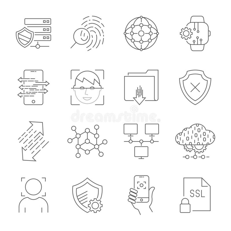Personendatenschutzikonen, sicherer Konto-LOGON, Benutzerschnittstellen-LOGON, Gesichtserkennung, StandortZugangsberechtigung stock abbildung
