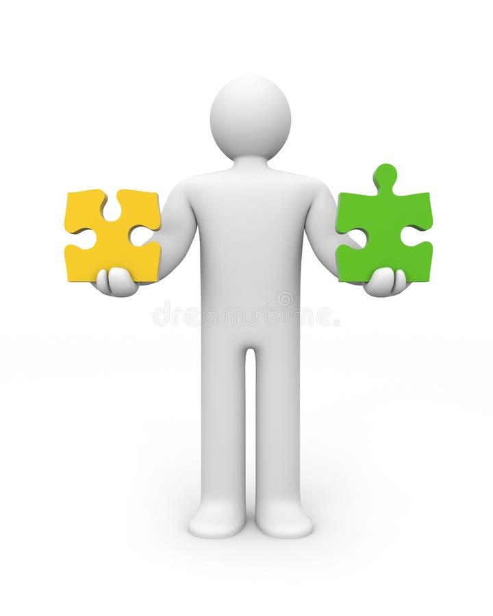 Personeneinflußpuzzlespiele. Schwerpunkt stock abbildung