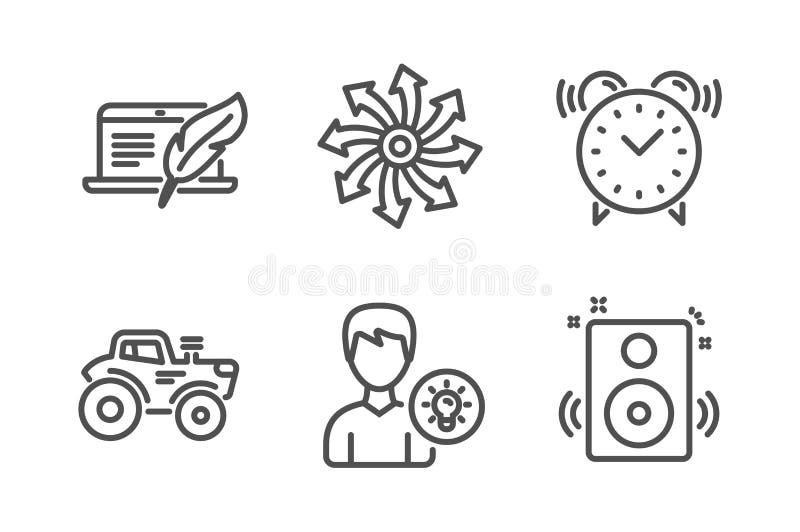 Personenidee, Copyright-Laptop und vielseitiger Ikonensatz Traktor-, Wecker- und Sprecherzeichen Vektor vektor abbildung