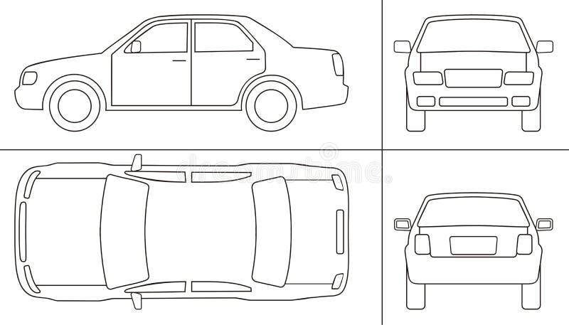 Personenkraftwagen keyline lizenzfreie abbildung