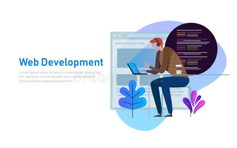 Personenprogrammierer, der an Laptop mit Programmcode auf Schirm arbeitet Kodierungsund Programmierungsvektorkonzept Abbildung de lizenzfreie abbildung