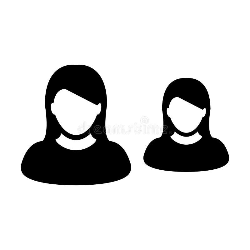 Personenvereinigungs-Symbolavatara des Führungsikonenvektors weiblicher für Geschäftsführungsteam im flachen Farbeglyphpiktogramm lizenzfreie abbildung