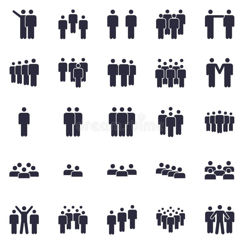 Personenvereinigungsikone Geschäftsteamperson, Büroteamwork-Leutesymbol und Arbeitsgruppe lokalisierten Schattenbildikonen lizenzfreie abbildung