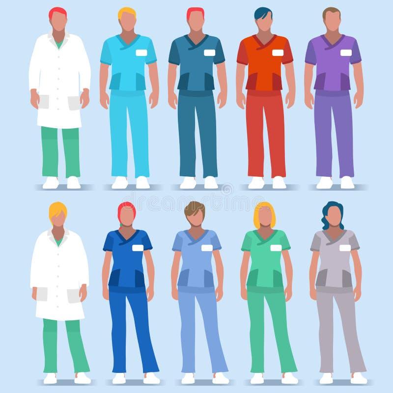 Personer 2D för sjukhus 01 royaltyfri illustrationer
