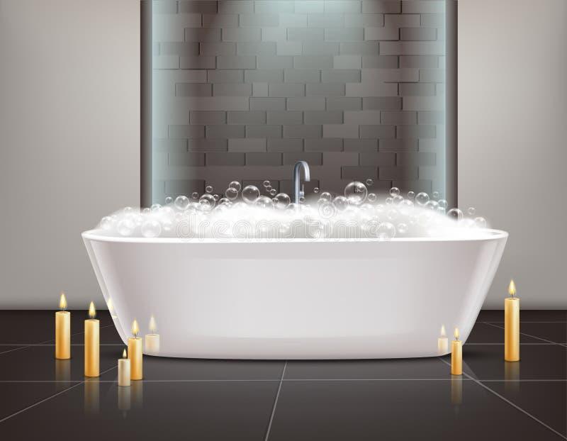 2 personer för mosaik för blå idérik för design för badrum för bad som 3d tom inre spegel för lampa moderna framför hyllor, sink  vektor illustrationer