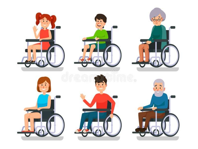 Personer i rullstol Sjukhuspatient med handikapp Rörelsehindrad pojke och flicka, mankvinna och gamla människor i rullstolar royaltyfri illustrationer