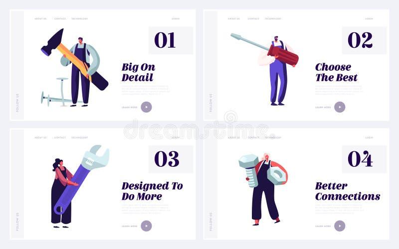 Personer med Diy Tools for Home eller Technics Repair Website Landing Page Set Anställda i arkitekturbyggföretag royaltyfri illustrationer