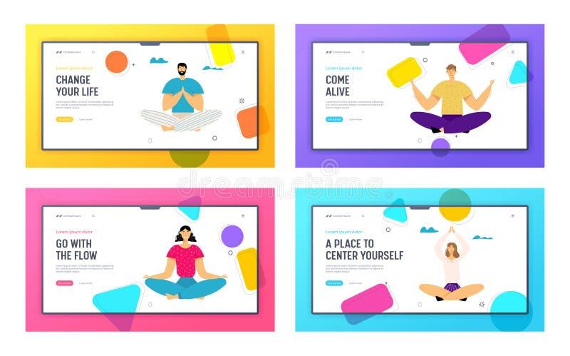 Personer som medverkar i Lotus Pose-webbplatsens lanseringssiduppsättning, utomhus Yoga, hälsosam livsstil, relaxering Emotional  royaltyfri illustrationer