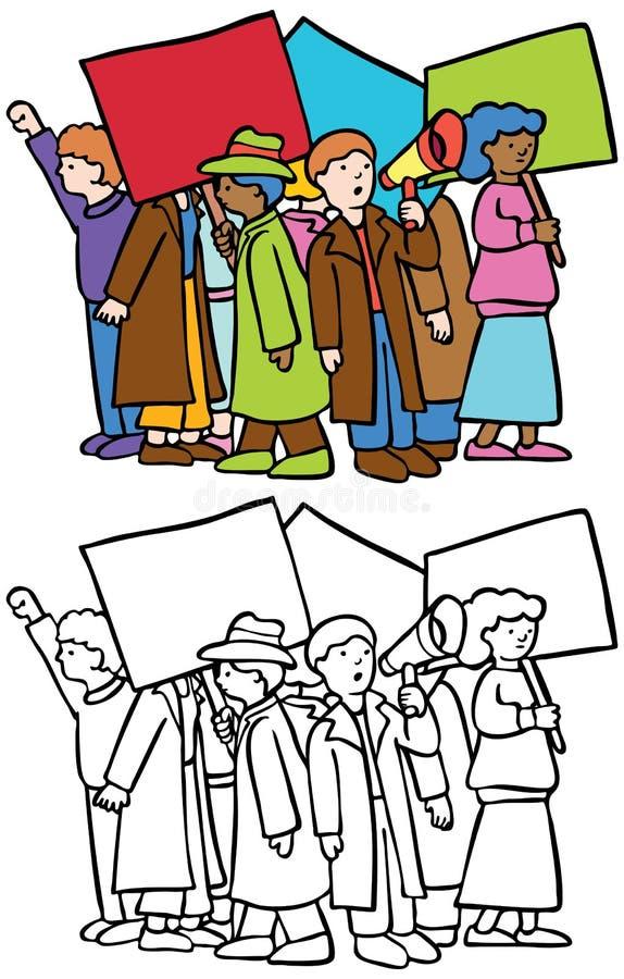 personer som protesterar stock illustrationer