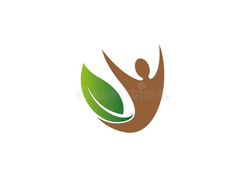 Personhänder upp det idérika yogasymbolet för inre sidor för logodesignillustration vektor illustrationer