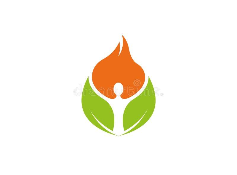 Personhänder upp för yogasymbol för inre sidor idérik design för logo stock illustrationer