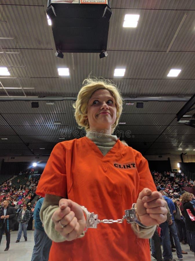 Personificación de hillary Clinton de la reunión del triunfo fotos de archivo libres de regalías