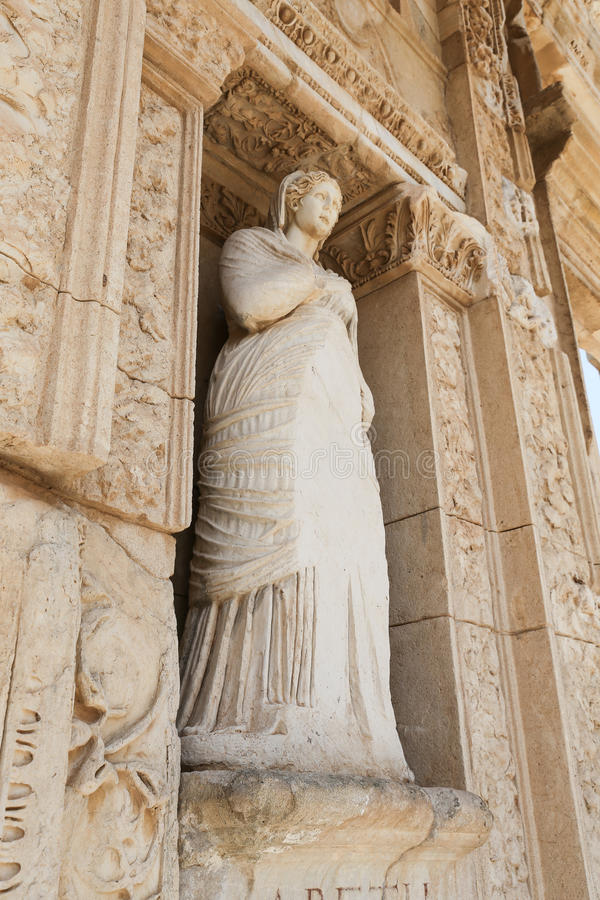 Personification of Virtue, Arete Statue in Ephesus Ancient City. Izmir, Turkey royalty free stock image