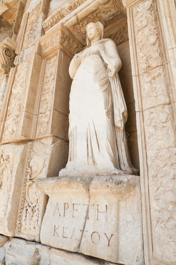 Personification of Virtue, Arete Statue in Ephesus Ancient City. Izmir, Turkey royalty free stock images